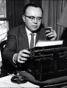 Russell Kirk (1911-1994) at his typewriter