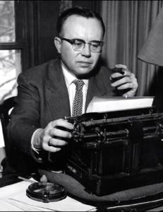 Russell Kirk (1911-1994) at his typewriter