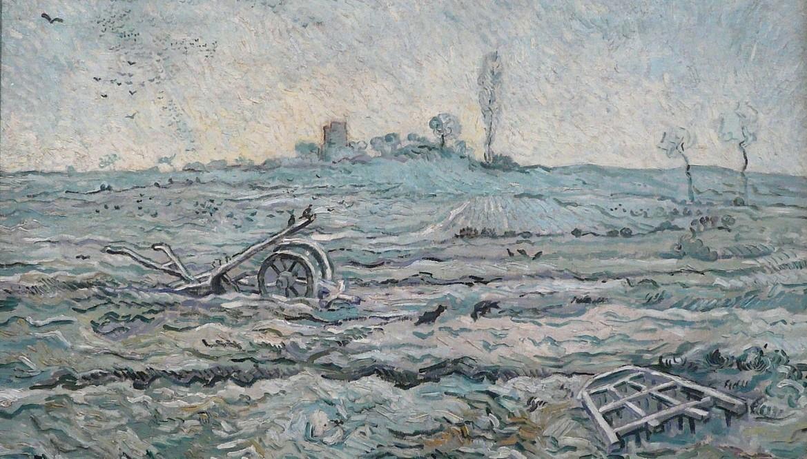Ondergesneeuwd veld met een eg (naar Millet), Vincent van Gogh (1889)